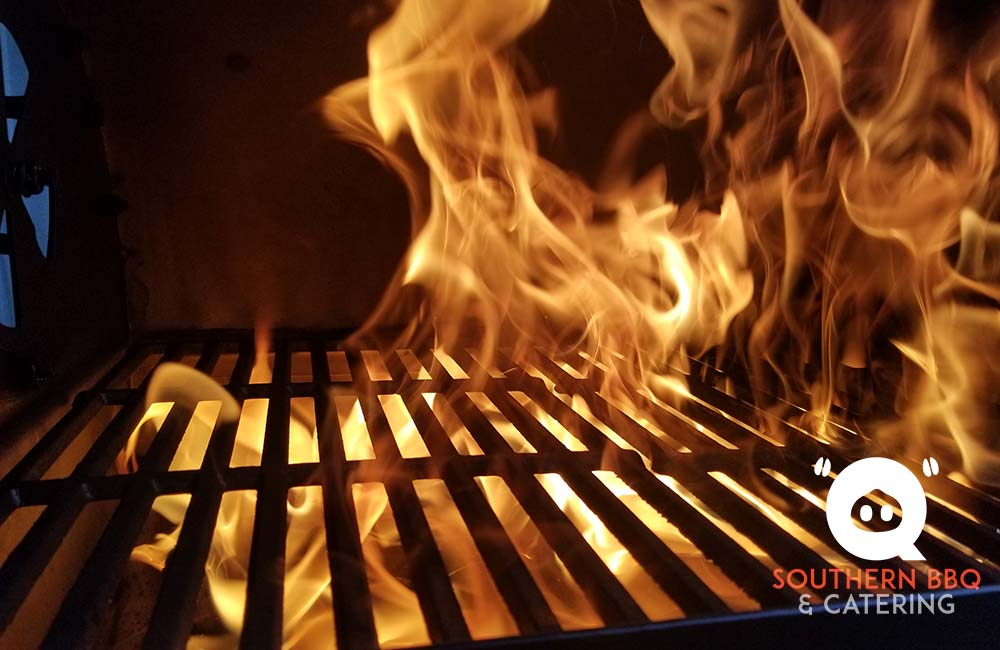 flames in the barbeque